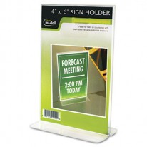 CLEAR PLASTIC SIGN HOLDER, FREE-STANDING, 4 X 6