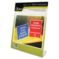 CLEAR PLASTIC SIGN HOLDER, STAND-UP, SLANTED, 8 1/2 X 11
