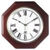OCTAGON MAHOGANY QUARTZ CLOCK, 12 IN, MAHOGANY