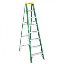 #592 EIGHT-FOOT FOLDING FIBERGLASS STEP LADDER, GREEN/BLACK